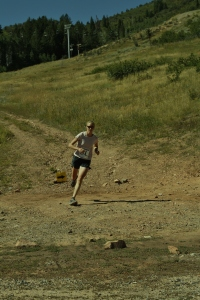 Holly's beautiful running form at the end of the Mid-Mountain Marathon